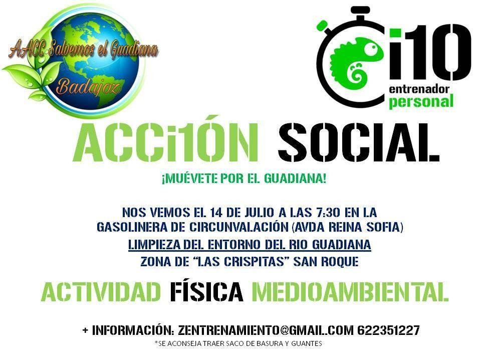 """Queremos darle difusión a esta actividad tan bonita que van a realizar una de las empresas participantes ( I10 Entrenador Personal ) de nuestro proyecto """"Ser+Sostenible"""", junto con la Asociación AA CC Salvemos el Guadiana Badajoz que realizan una labor incansable para un Guadiana limpio y vivo.Os animamos a participar y a difundir.#GuadianaLimpioyVivo #Badajoz #AccionSocial #Medioambiente"""